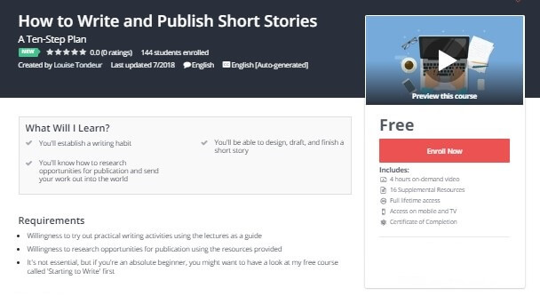 Get 100% Free Udemy How to Write and Publish Short Stories Course