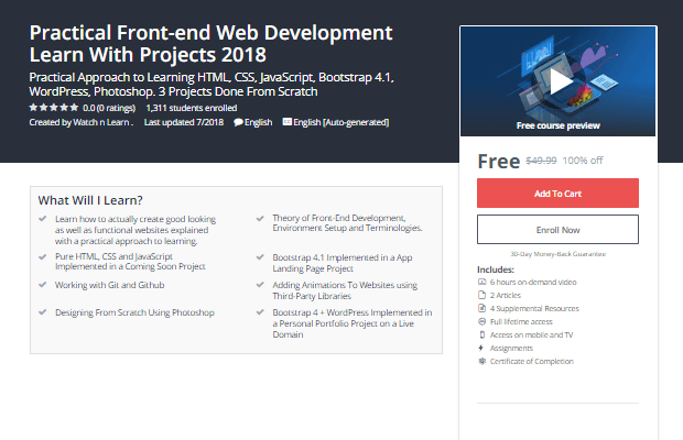 Get 100% free Practical Front-end Web Development Learn With Projects 2018
