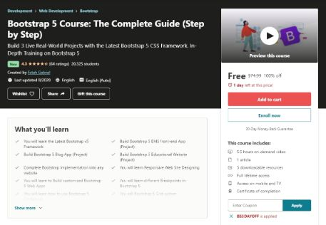 [100% Off] Bootstrap 5 Course: The Complete Guide (Step by Step)