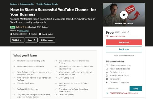 [100% Off] How to Start a Successful YouTube Channel for Your Business Coupon