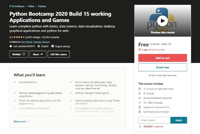 Python Bootcamp 2020 Build 15 working Applications and Games