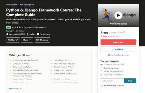 [100% Off] Python & Django Framework Course: The Complete Guide